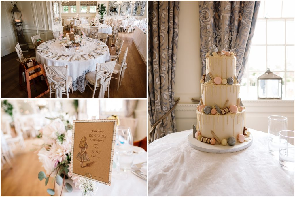 detail photos of the dining room showing Alice-in-Wonderland styling and the three tier white chocolate drip cake