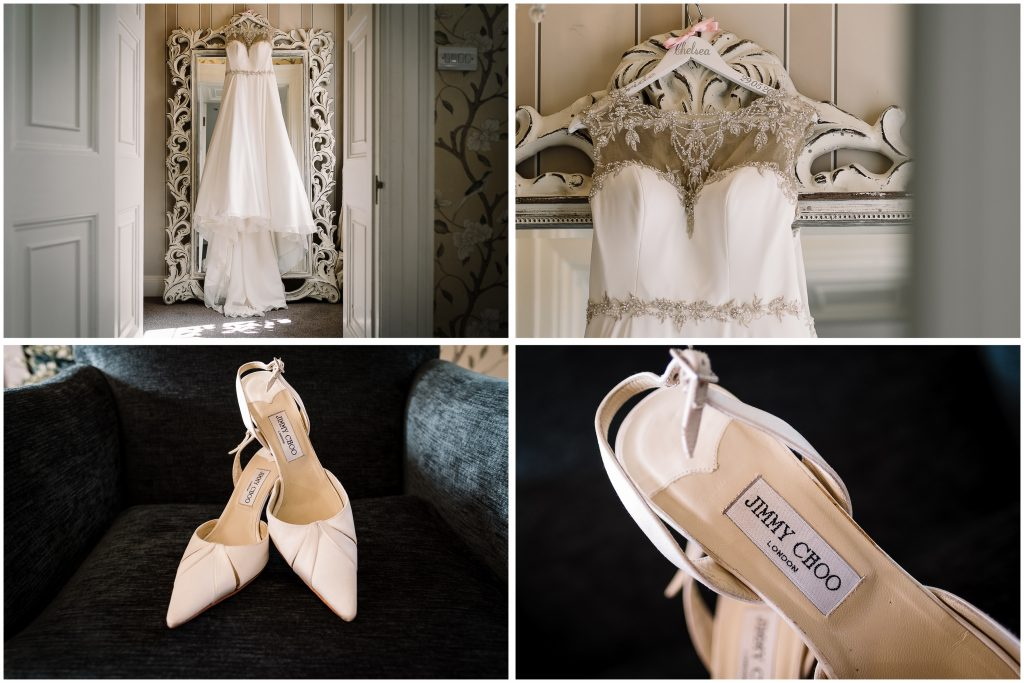 deatail photos of wedding dress and Jimmy Choo shoes at Eaves Hall in the bridal suite