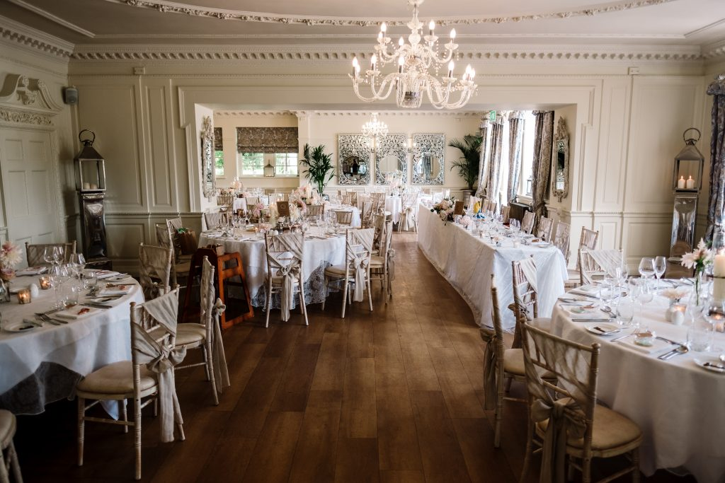 sophisticated styling in neutral colours in the wedding breakfast room