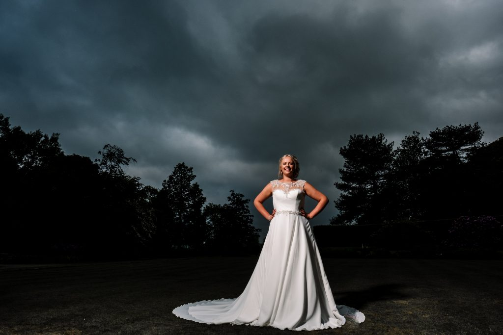 portrait of the bride on her wedding day at Eaves Hall