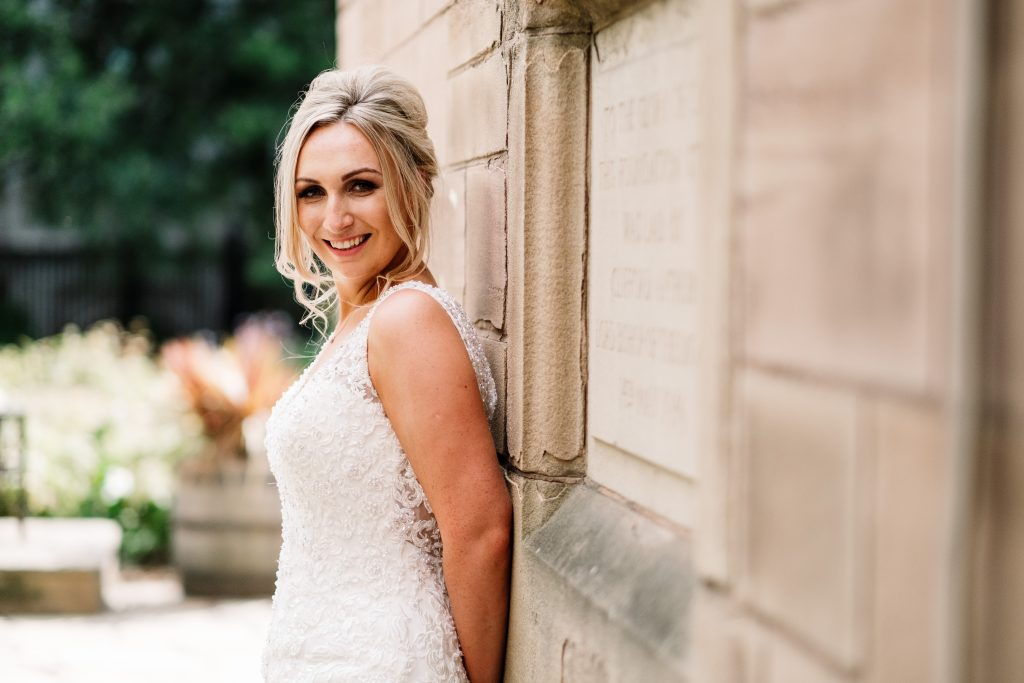 bride portrait outside St Nicks church in Liverpool