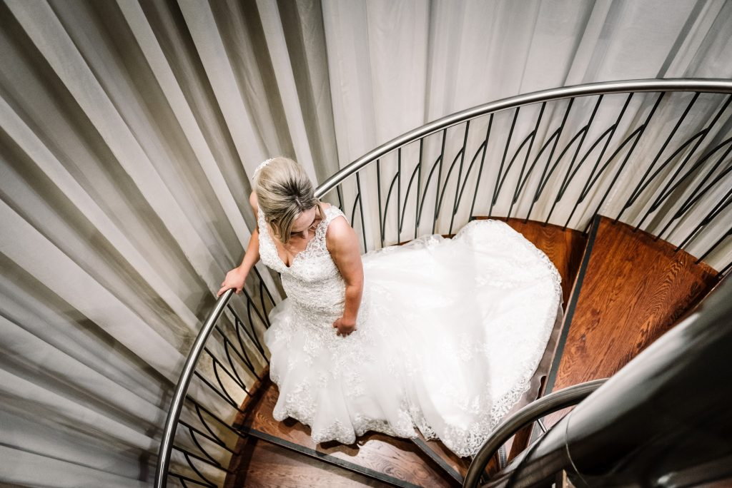bride portrait on he spiral staircase in the Hard Days Night Hotel